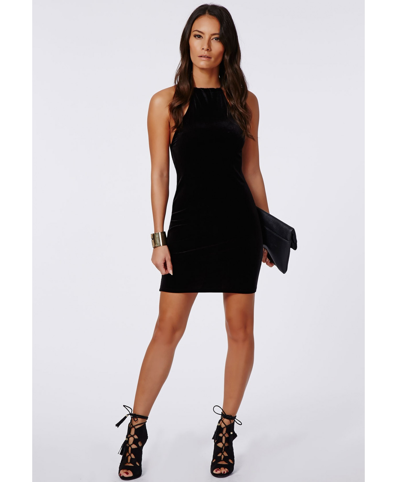 Lyst - Missguided Masumi Velvet Strappy Bodycon Dress Black in Black