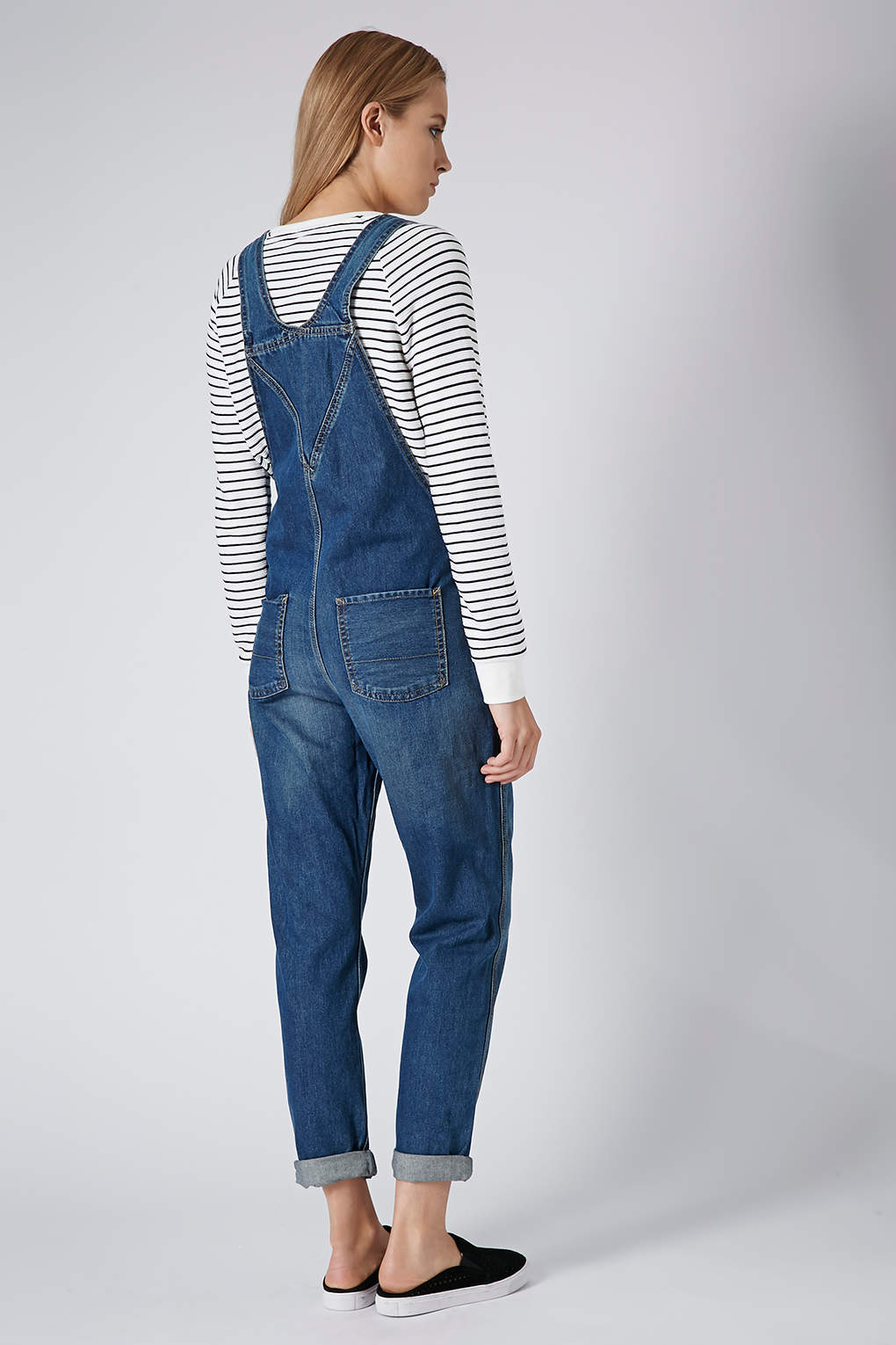 Lyst topshop moto denim long leg dungarees in blue for Womens denim shirts topshop