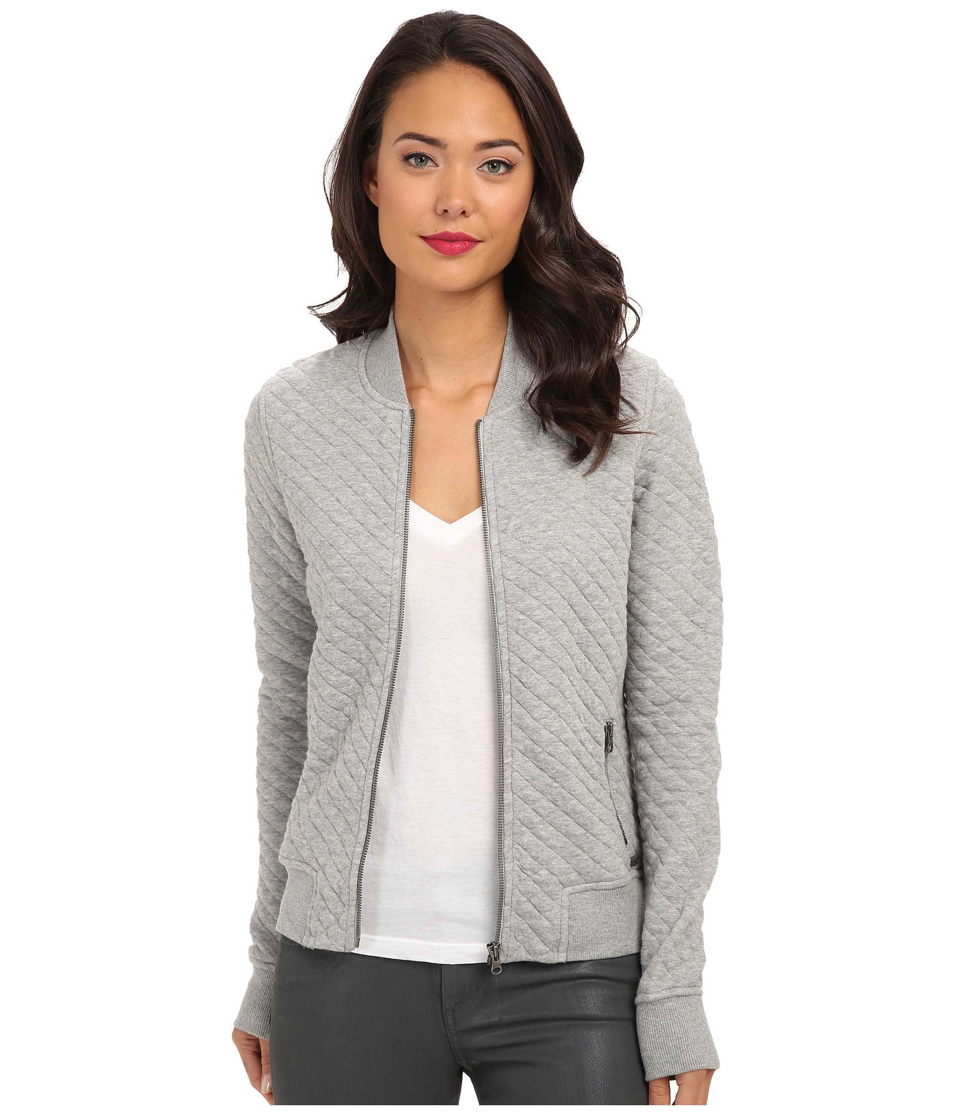 Lyst Converse Quilted Bomber Jacket In Gray
