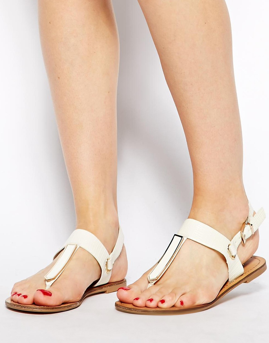 Lyst - ALDO Slingback Metal Flat Sandals in White