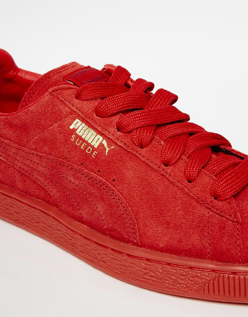 puma suede rouge monochrome