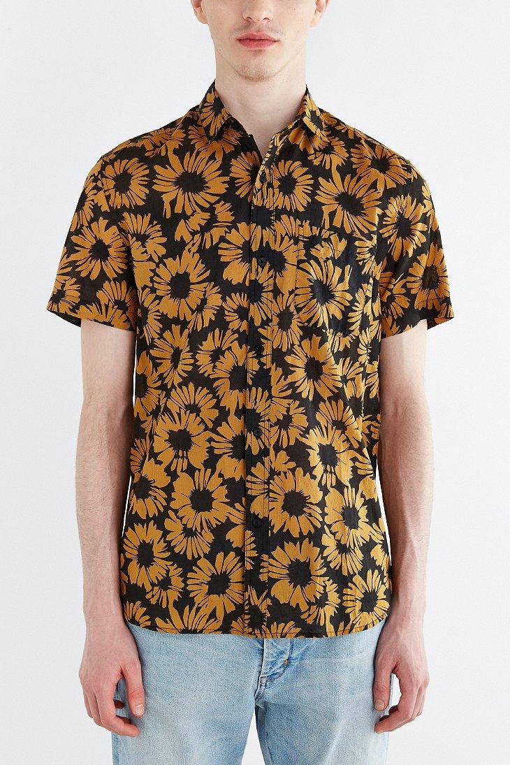 Koto short sleeve sunflower breezy button down shirt in for Men s down shirt