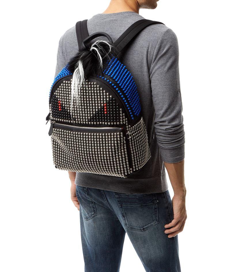 Fendi Studded Monster Eyes Backpack in Black for Men - Lyst 92c1f04c43502