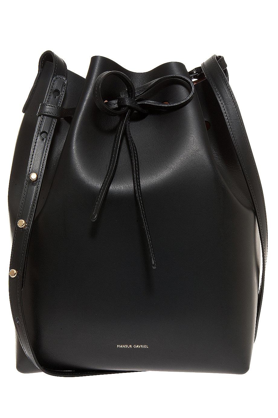 lyst mansur gavriel vegetable tan coated bucket bag in black. Black Bedroom Furniture Sets. Home Design Ideas