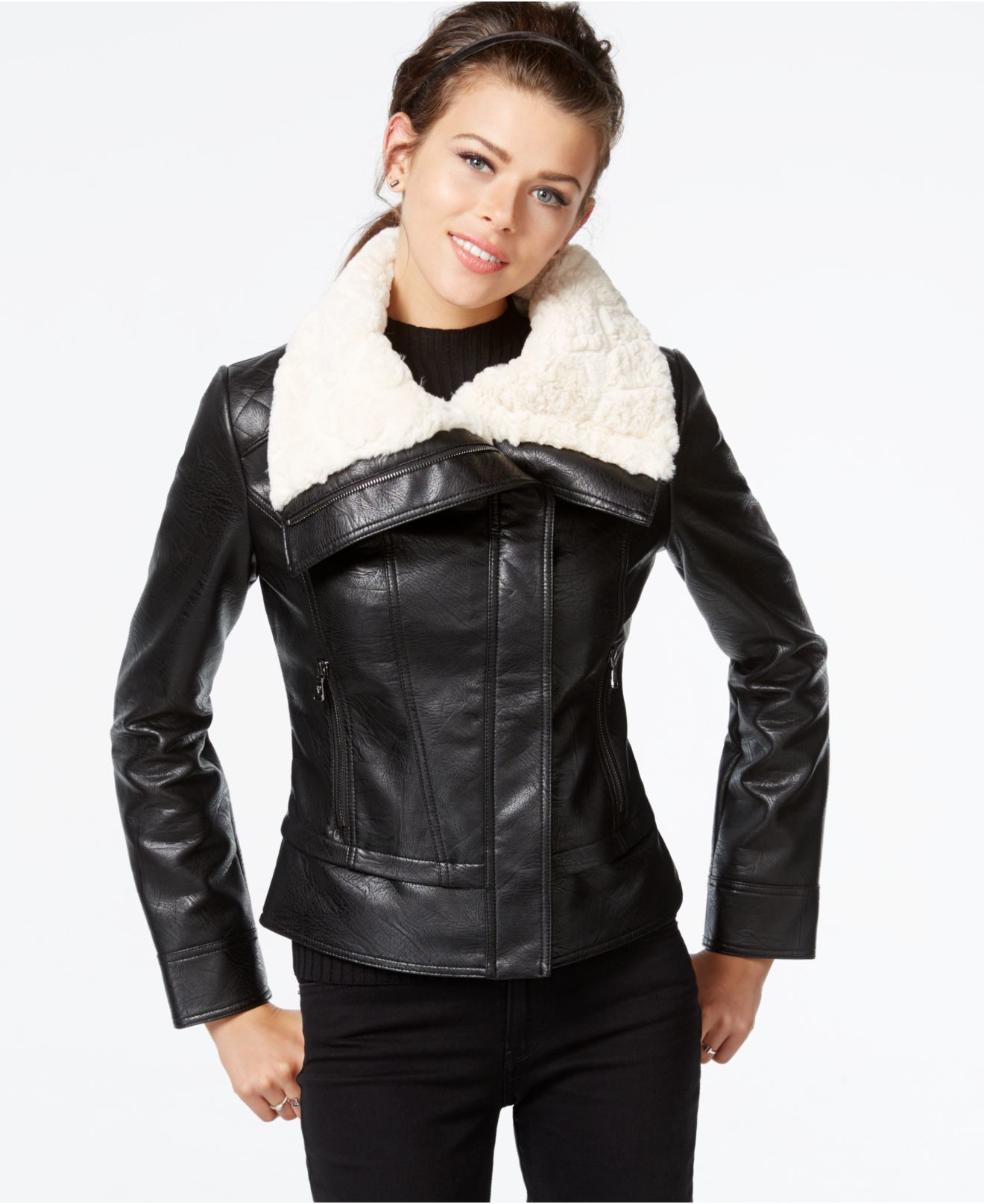 feaac956 Guess Faux-fur-collar Faux-leather Jacket in Black - Lyst