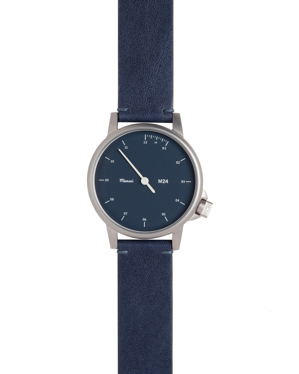Miansai Stainless Steel Watch With Leather Strap In Blue