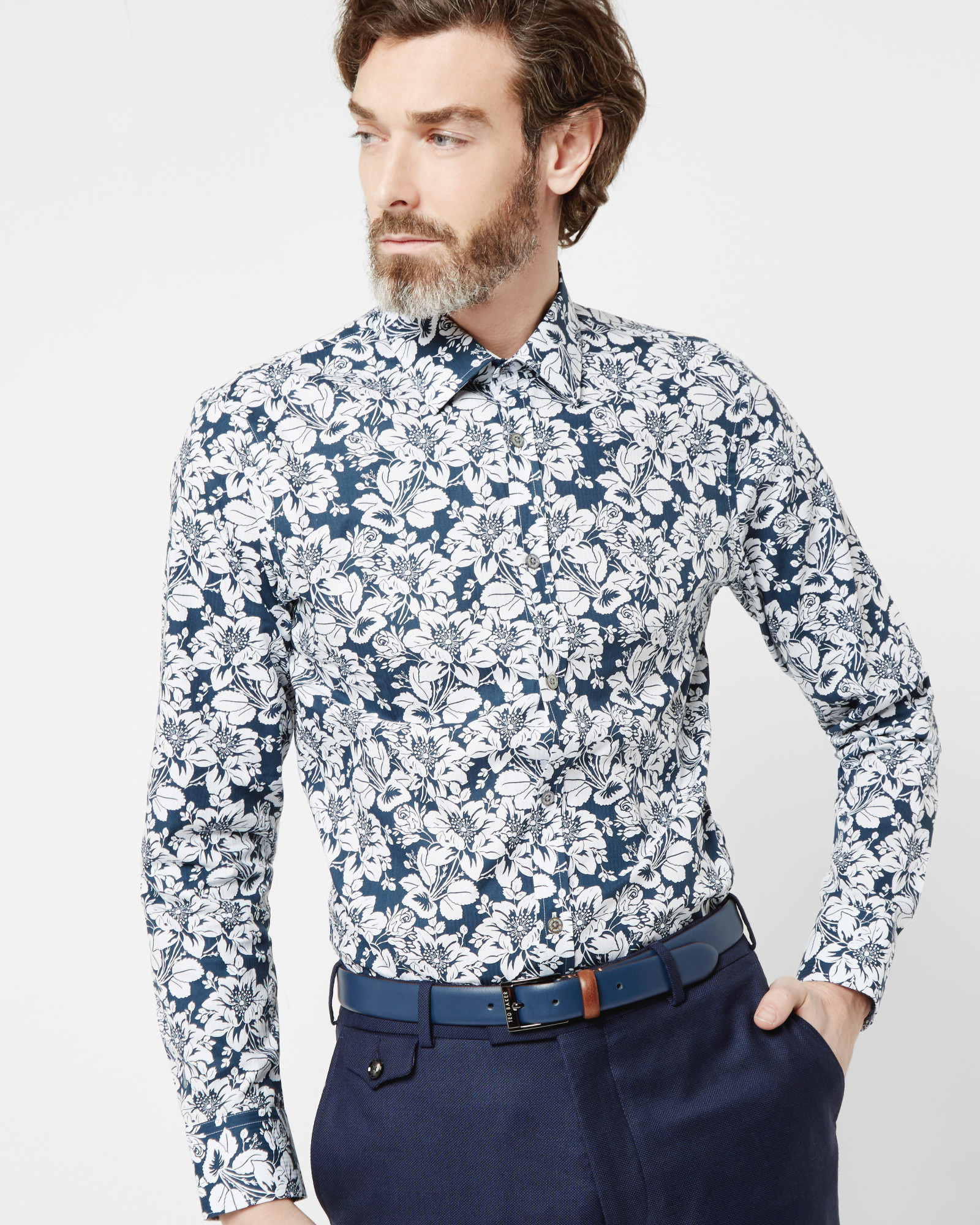 Ted baker Floral Print Cotton Shirt in Blue for Men | Lyst