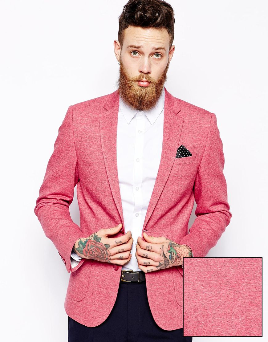 Asos Slim Fit Blazer In Jersey in Red for Men | Lyst