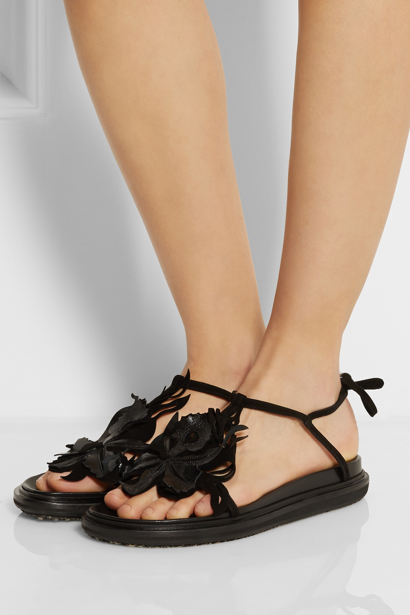648e9004be9cc Marni Embellished Leather And Suede Sandals in Black - Lyst