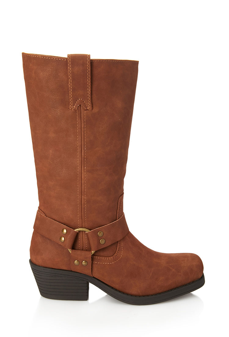 forever 21 faux suede boots in brown lyst