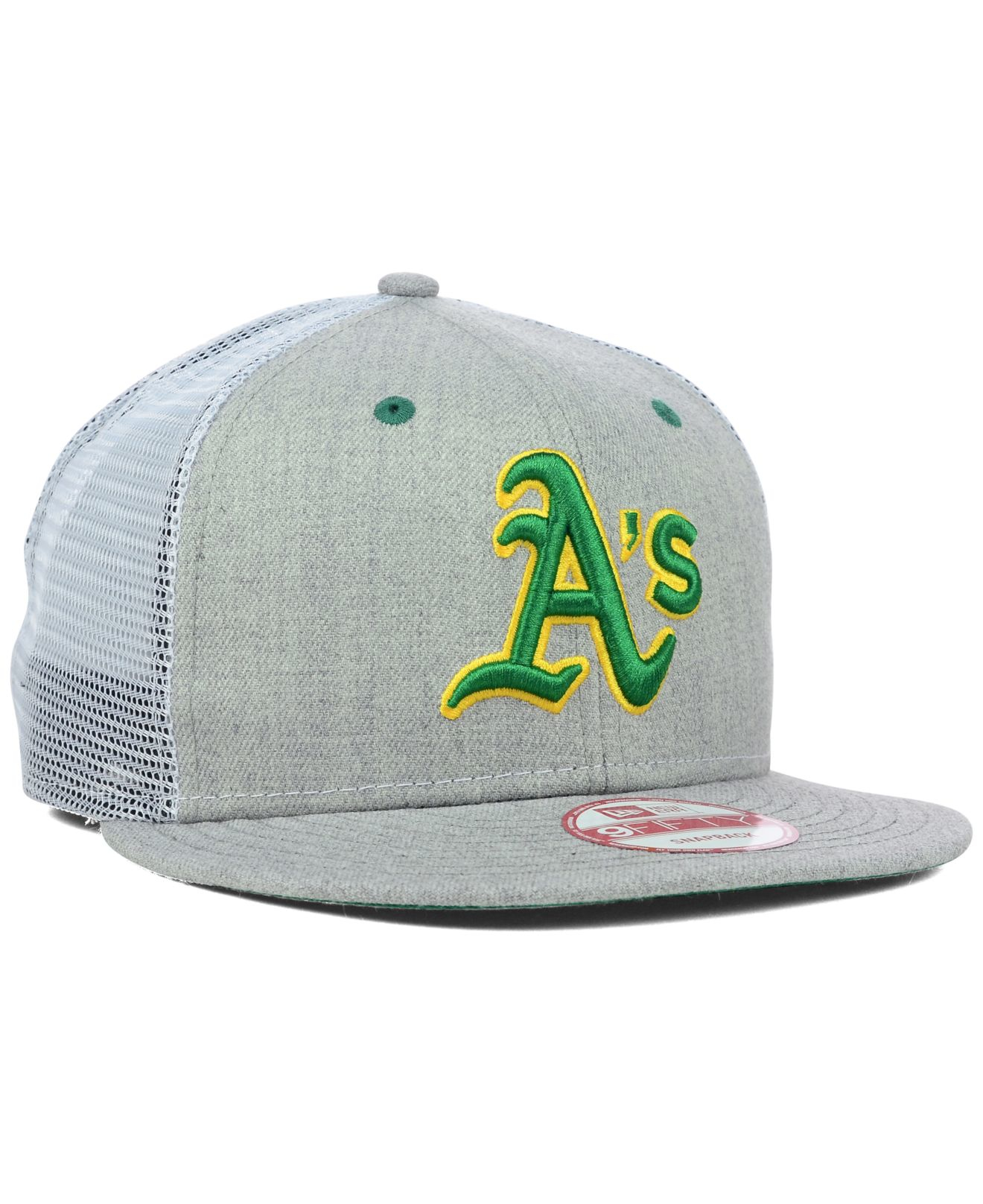 reputable site 8c493 d19a8 KTZ Oakland Athletics Heather Trucker 9fifty Snapback Cap in Gray ...