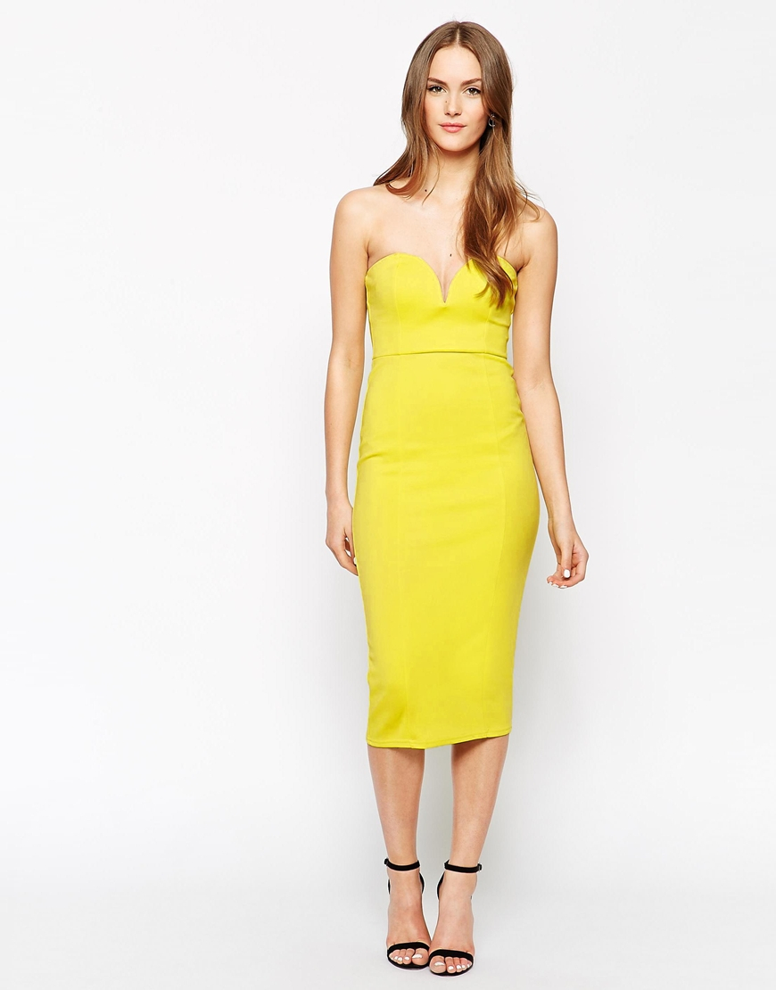 Oh my love plunge neck bodycon dress yellow.