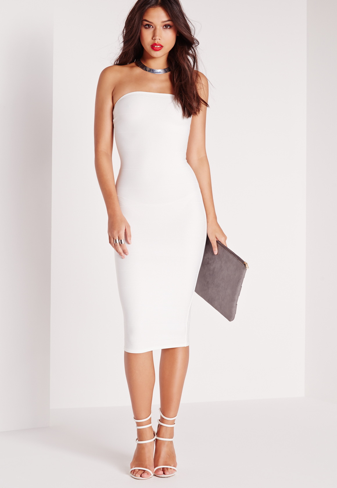 02acf164ed8b7 Lyst - Missguided Strapless Bandage Bodycon Midi Dress White in White