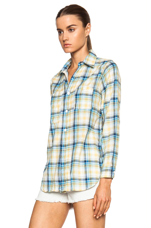 Lyst engineered garments cotton blend twill work shirt for Blue cotton work shirts