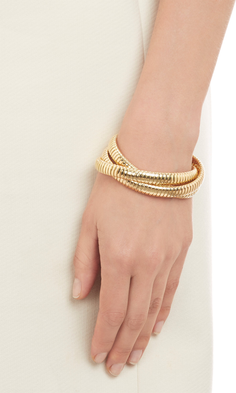 Sidney Garber Gold Three Band Rolling Bracelet In Yellow Lyst