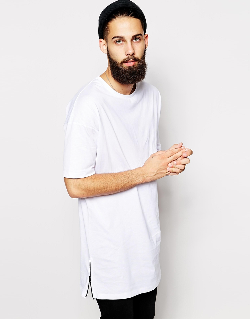 Lyst Asos Super Longline T Shirt With Side Zip Detail In