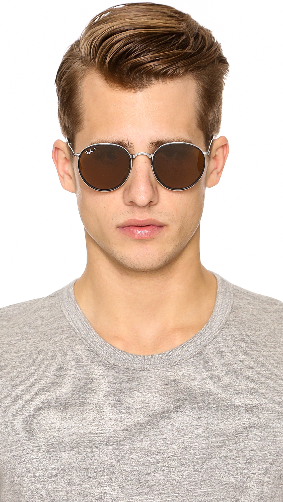 93315bf4f8b ... best lyst ray ban polarized round folding sunglasses in metallic for  men ea45f 0adec