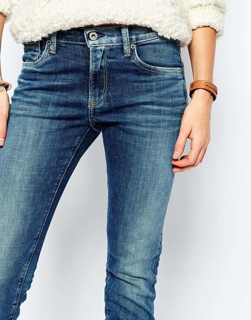 lyst pepe jeans victoria slim jean in blue. Black Bedroom Furniture Sets. Home Design Ideas