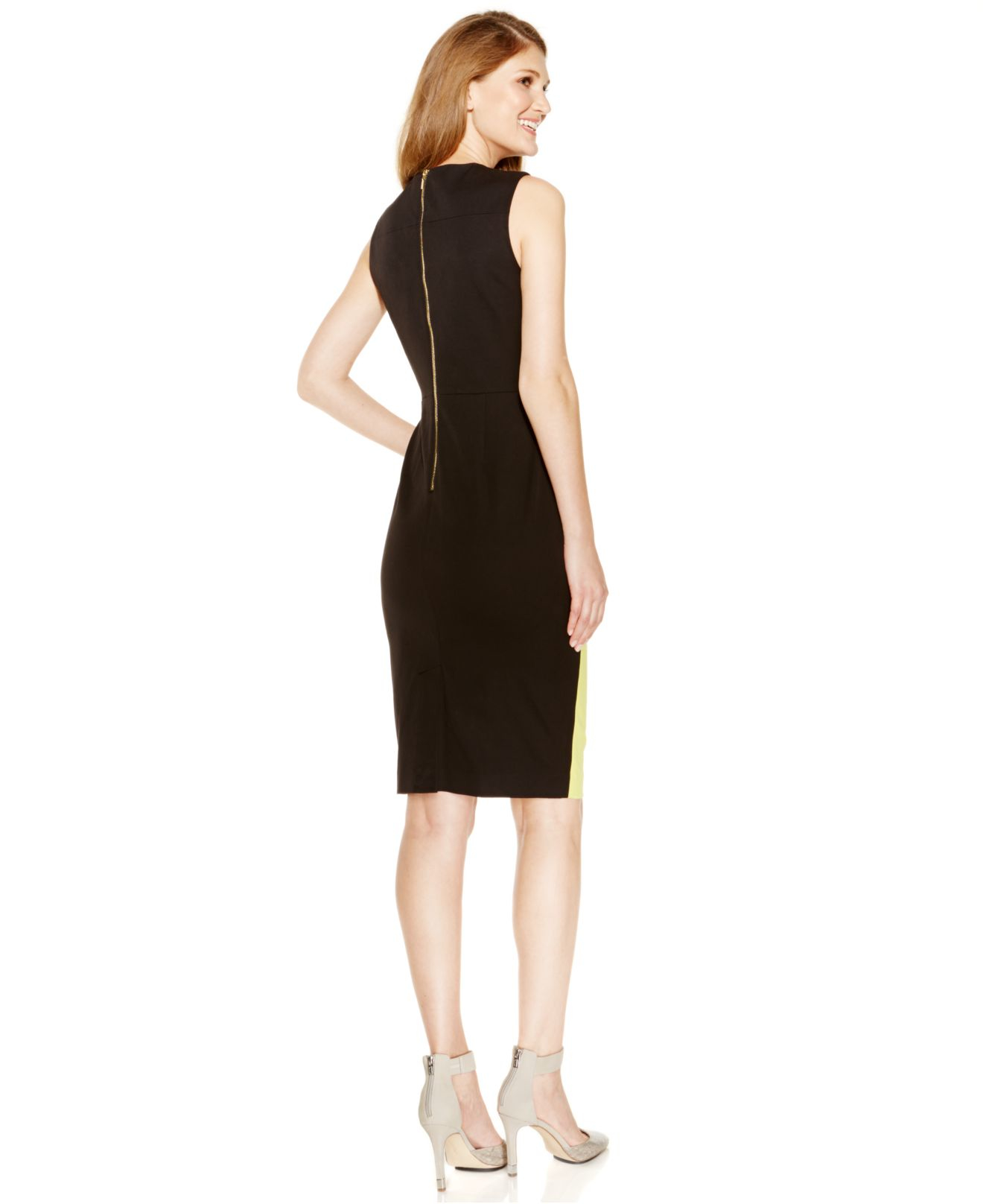 84706040 Calvin Klein Sleeveless Colorblocked Sheath Dress in Black - Lyst