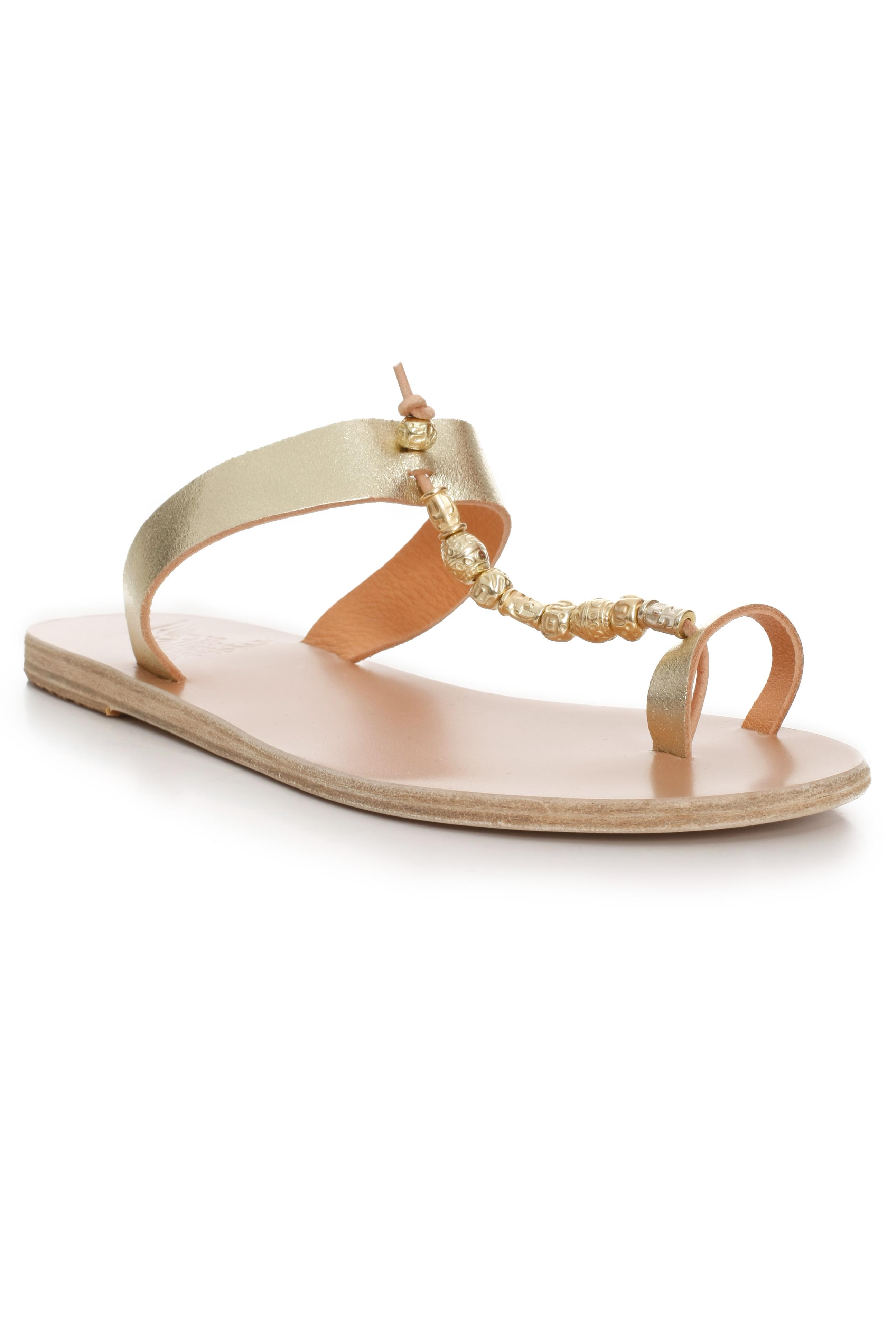 56d756071c0 Lyst - Ancient Greek Sandals Toe Loop Gold Bead Sandal in Metallic