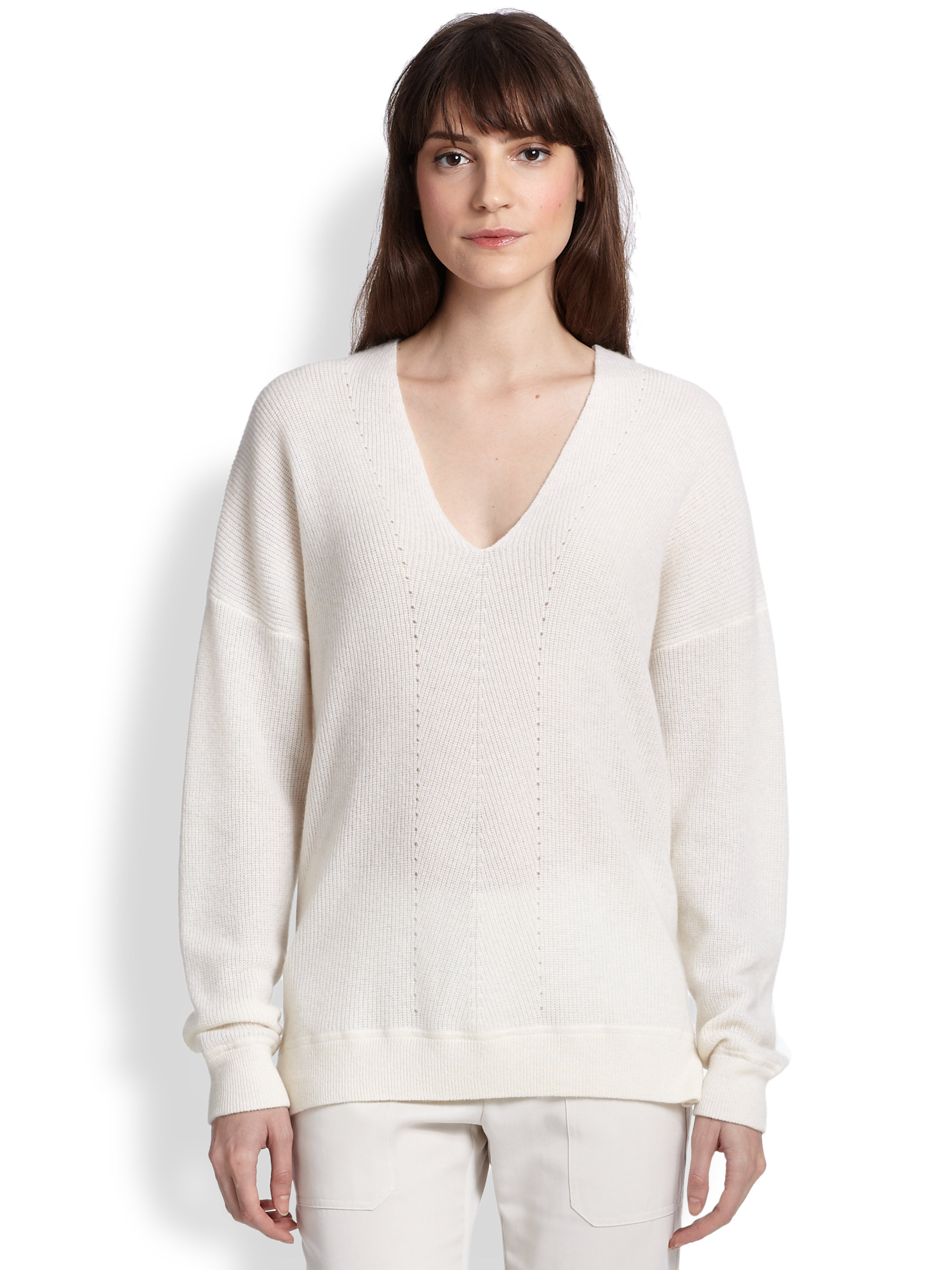 Vince Oversized Ribbed Cashmere Sweater in White | Lyst