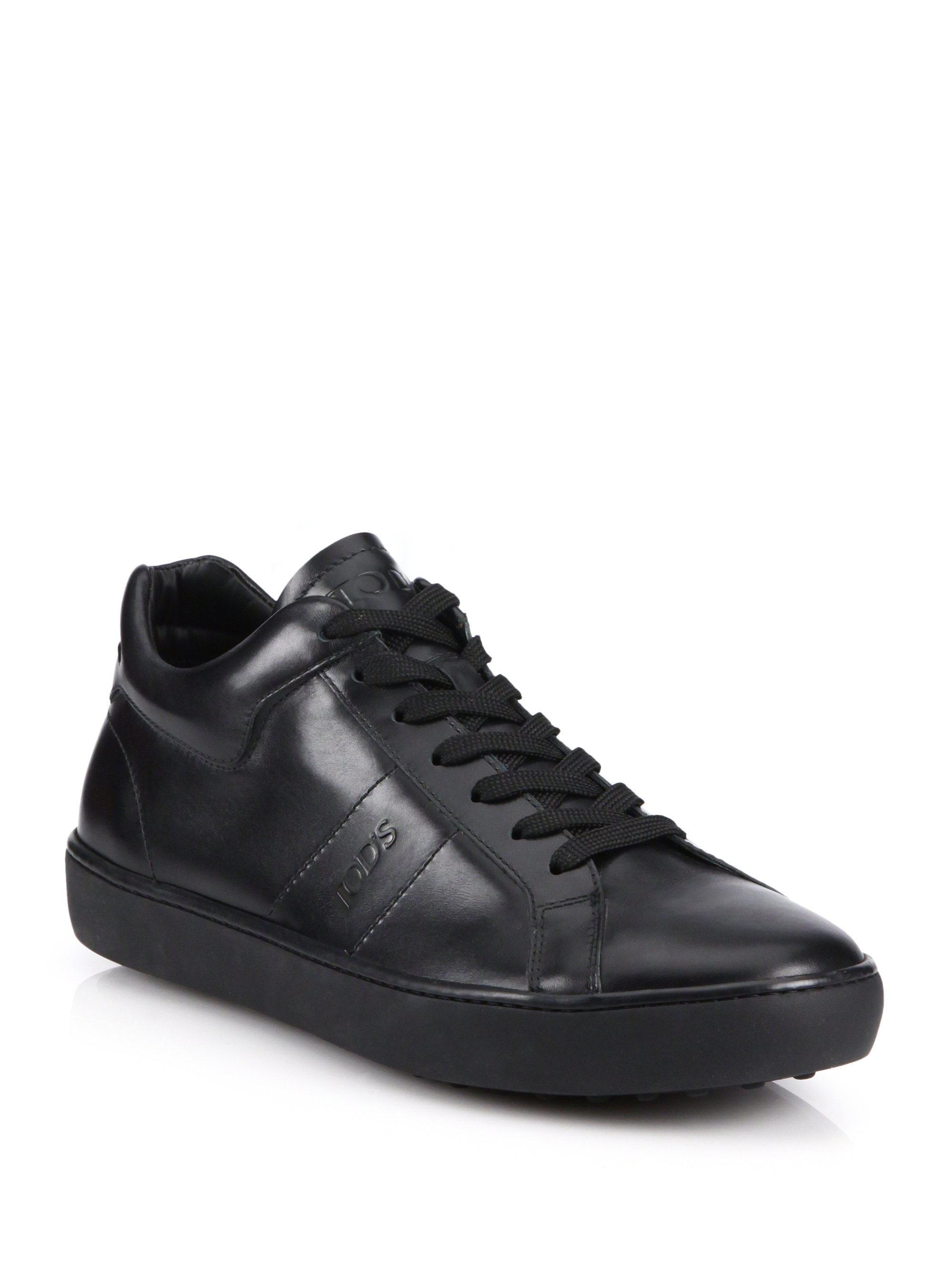 Tod's Solid Leather Sneakers in Black for Men   Lyst
