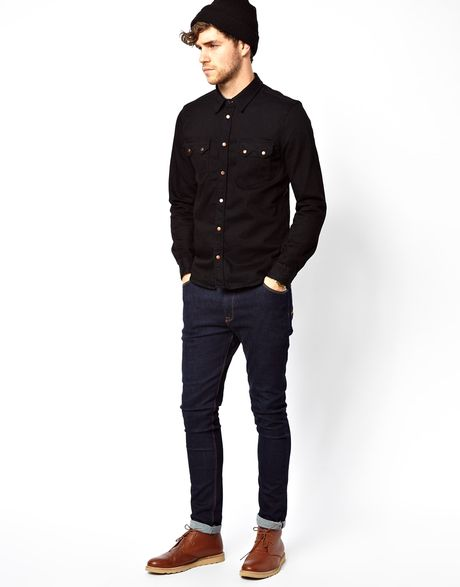 Nudie jeans nudie denim shirt gusten black on blue in blue for Shirts that go with black jeans