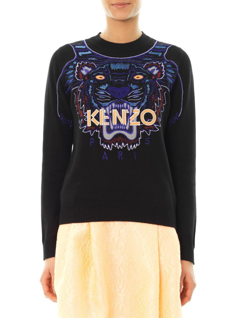 kenzo tiger embroidered sweater in black for men lyst. Black Bedroom Furniture Sets. Home Design Ideas
