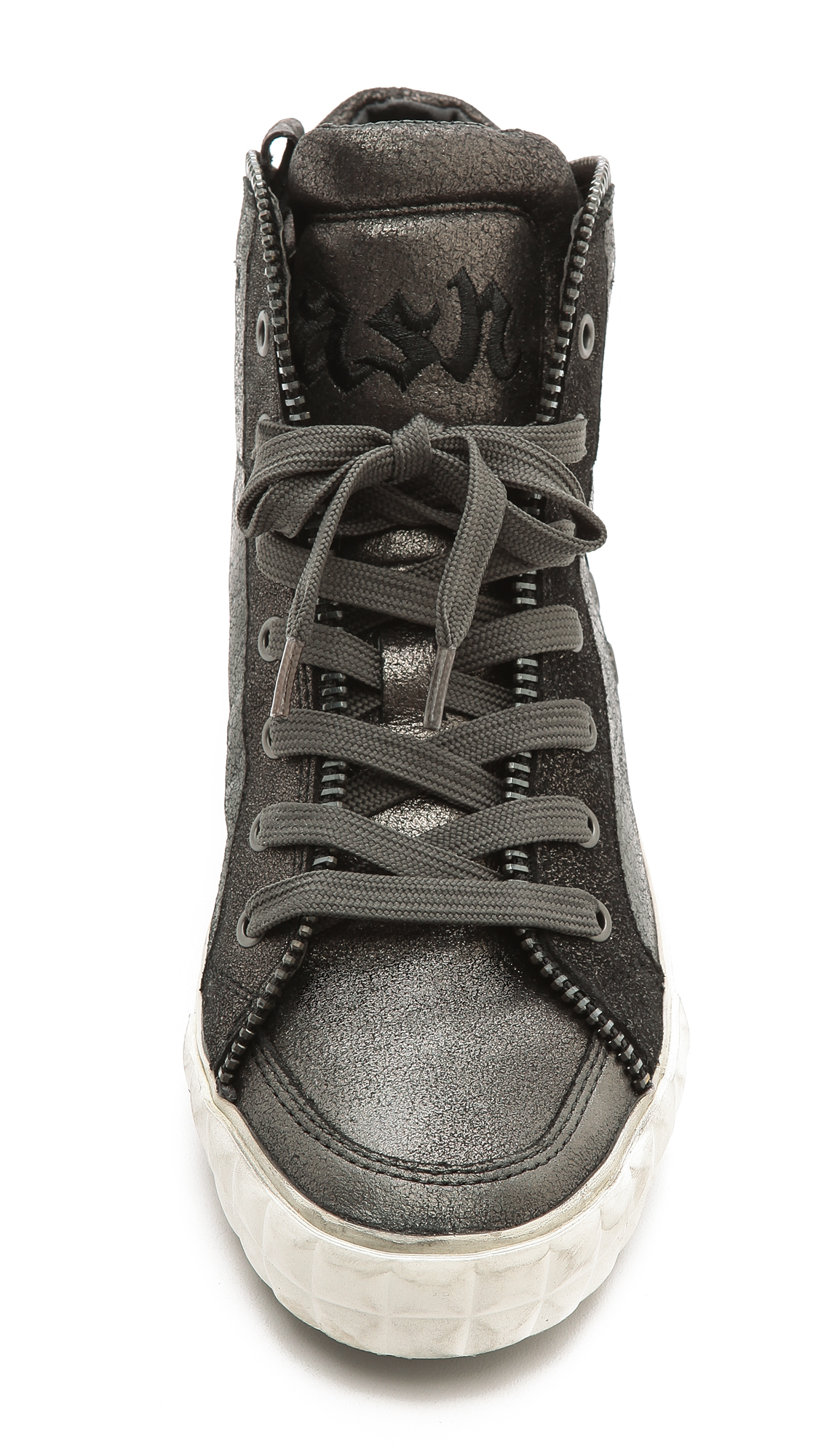 cf613f400bd88 Lyst - Ash Shake High Top Zipper Sneakers - Black Graphite Graphite ...