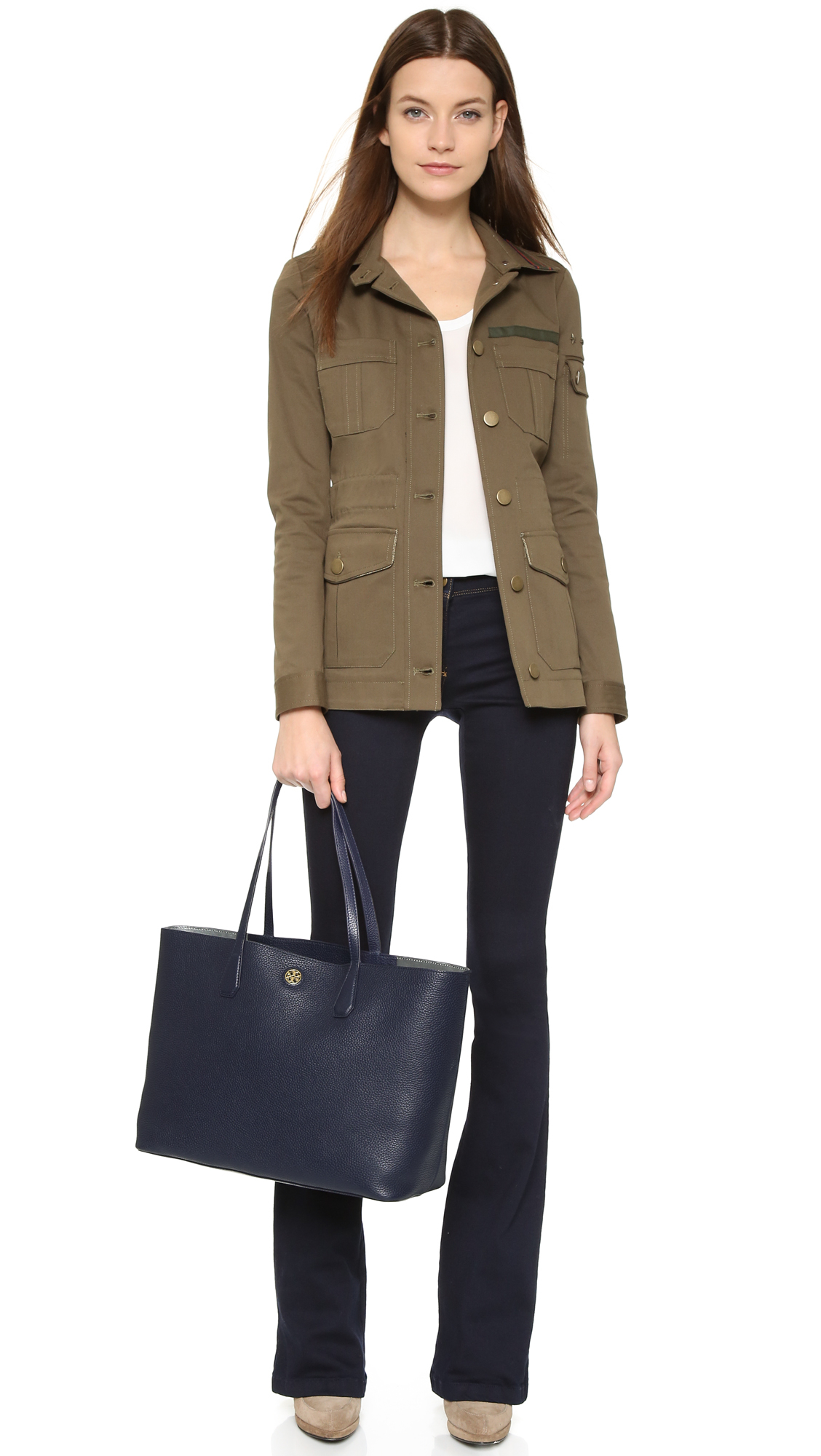 b30f3ff184 Tory Burch Perry Tote - Tory Navy in Blue - Lyst