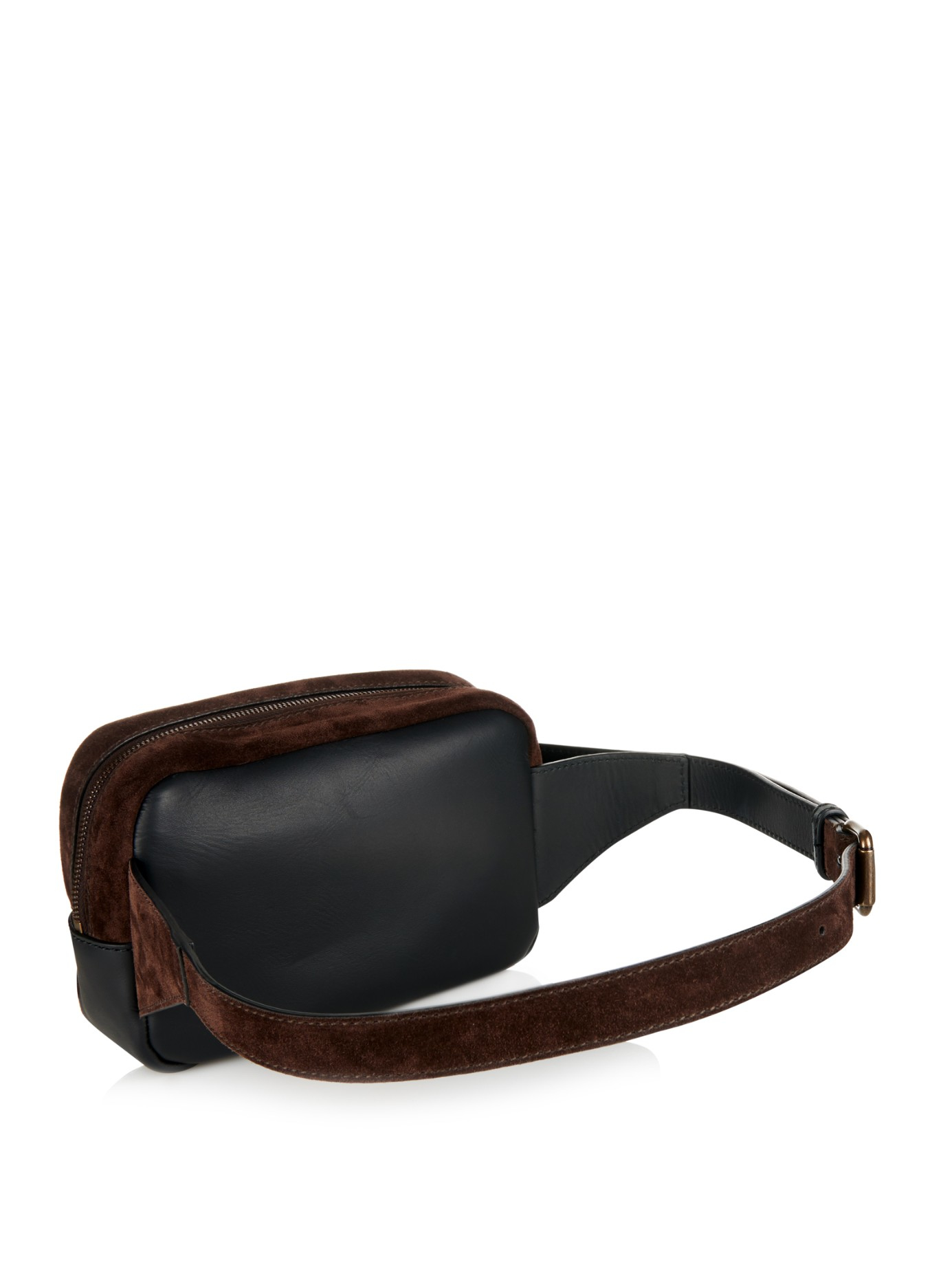 tomas maier suede and leather belt bag in brown for lyst