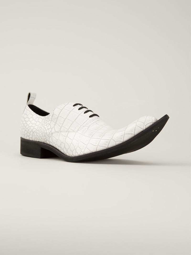 766770fa930cad Comme des Garçons Crocodile Effect Lace-Up Shoes in White for Men - Lyst