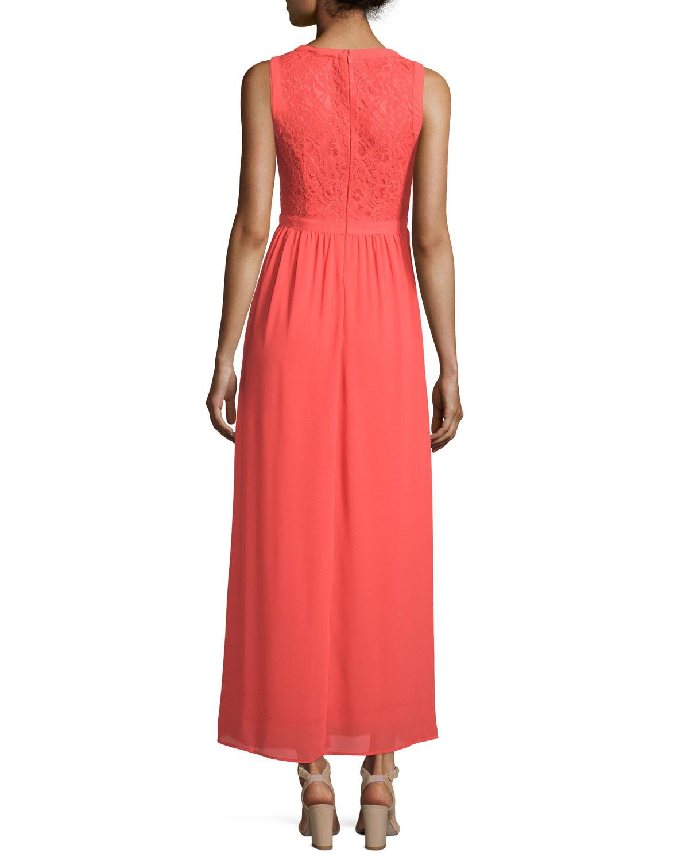 Neiman marcus Sleeveless Lace & Chiffon Maxi Dress in Red ...