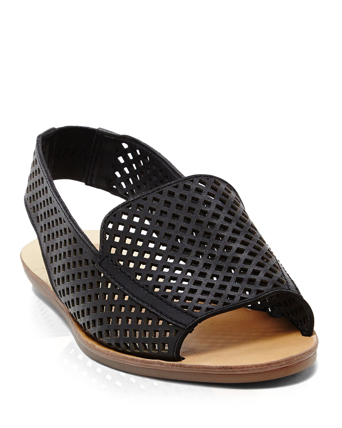 Dolce Vita Open Toe Perforated Slingback Flat Sandals