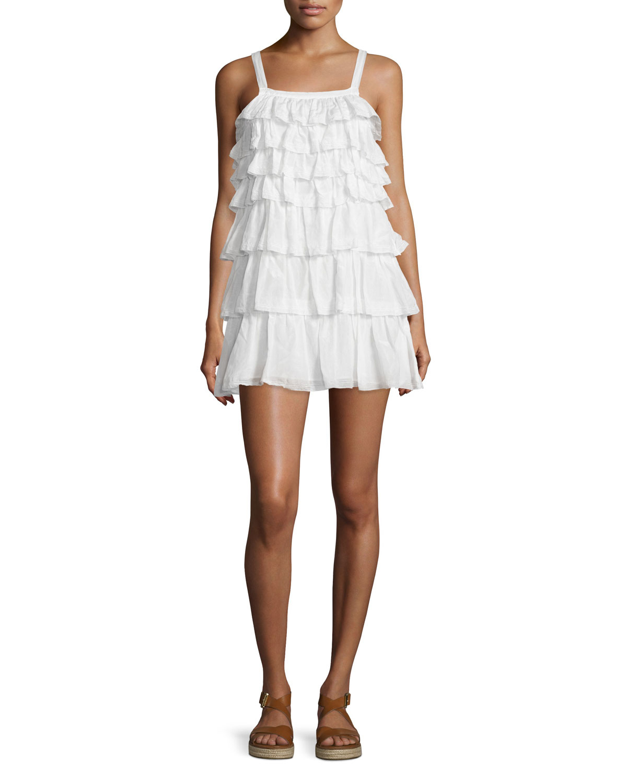 joie melanite tiered ruffle dress in white lyst