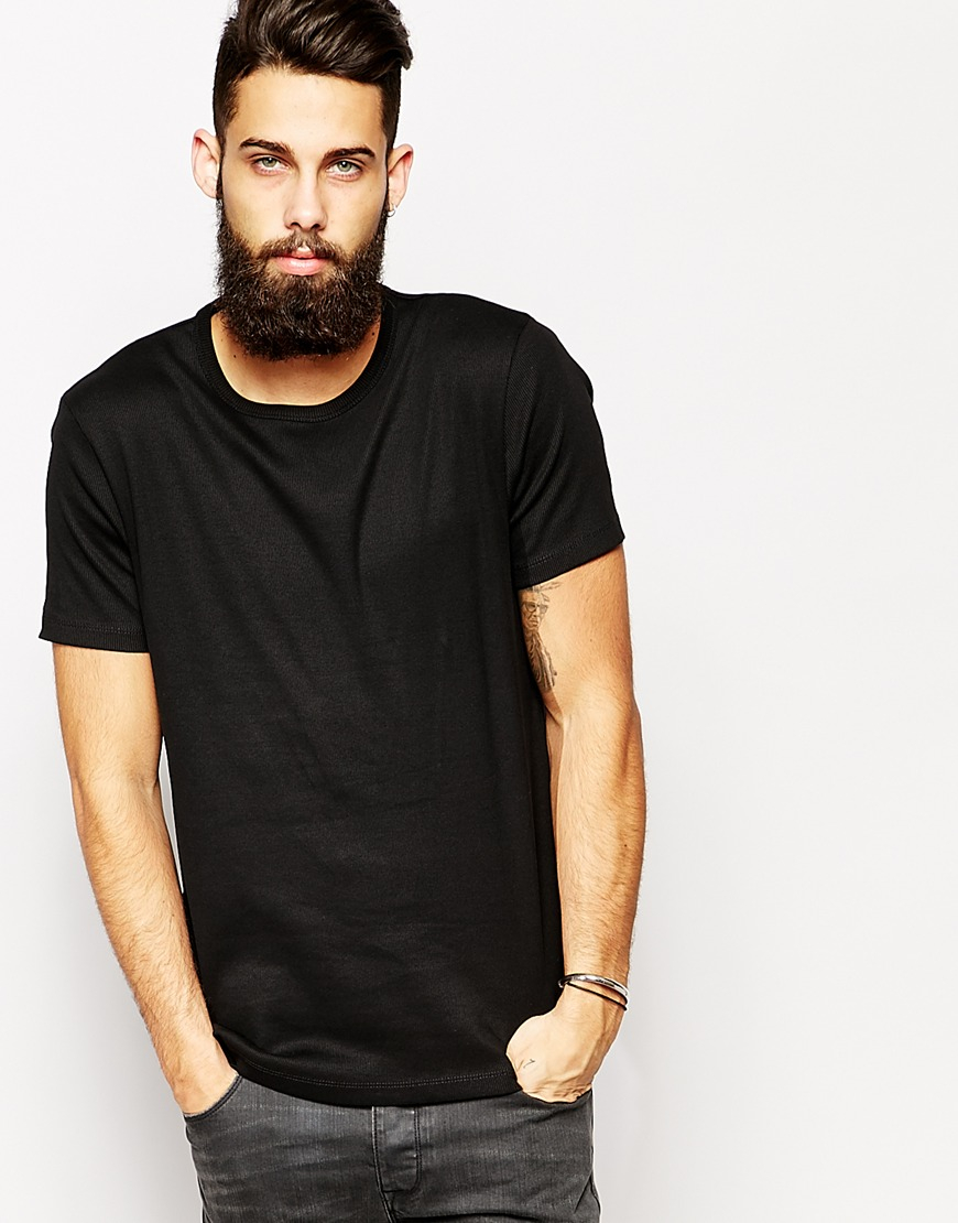 Lyst - Asos T-Shirt With Bound Crew Neck And Ribbed Jersey in ...