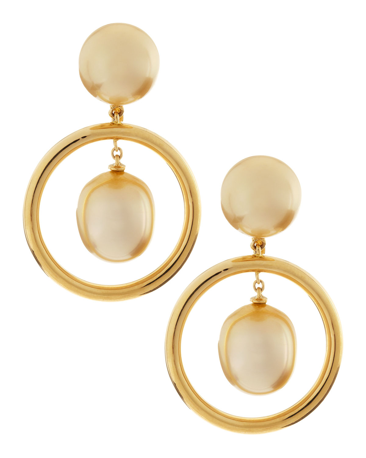 assael 18k gold hoop south sea pearl drop earrings in gold. Black Bedroom Furniture Sets. Home Design Ideas