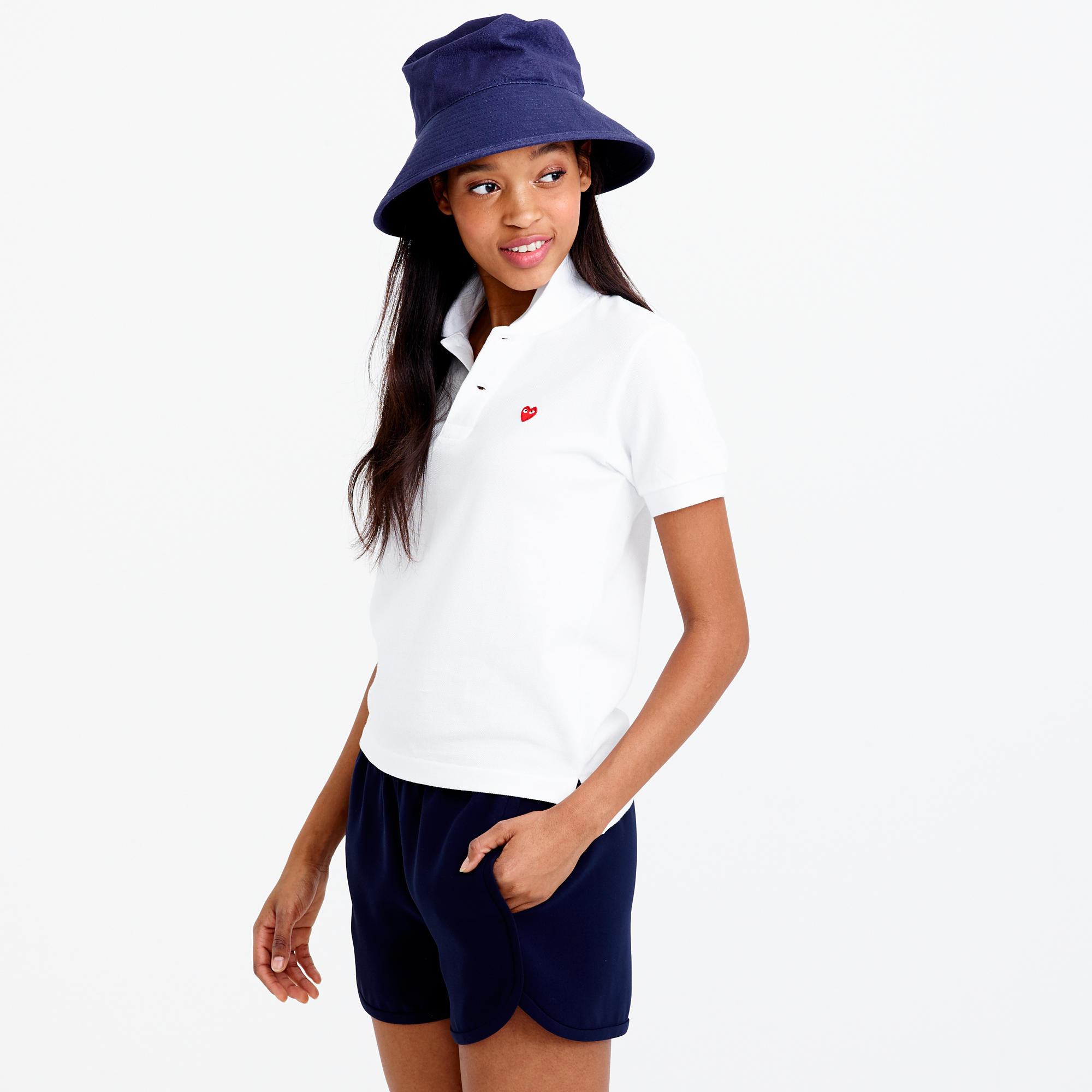 Play comme des gar ons red heart polo shirt in for Commes des garcons play shirt