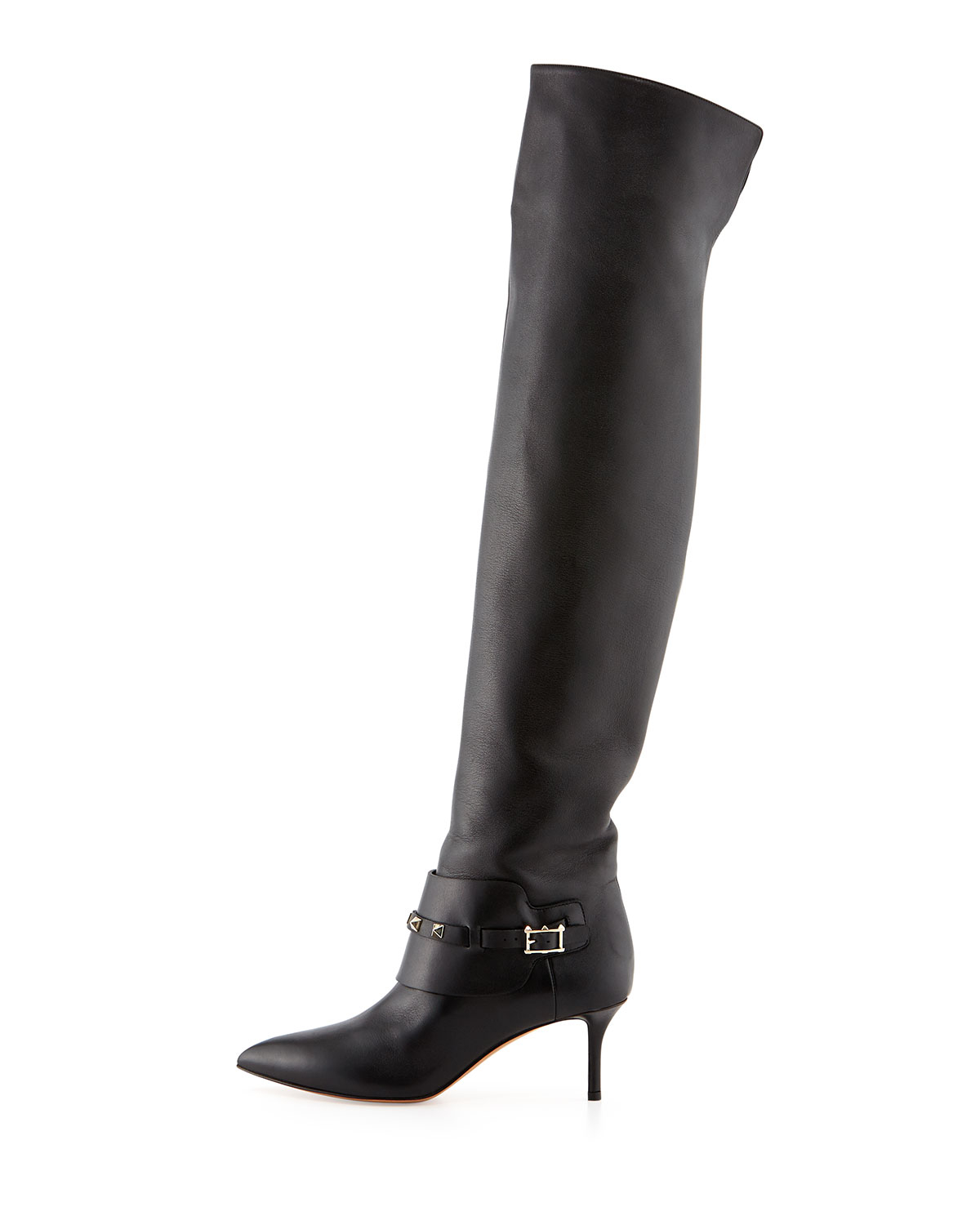 99de4ab70de Lyst - Valentino Rockstud Low-heel Over-the-knee Boot in Black