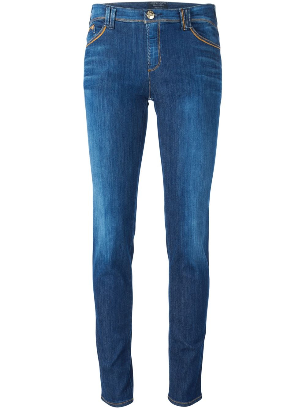 armani jeans stone washed skinny jeans in blue lyst. Black Bedroom Furniture Sets. Home Design Ideas