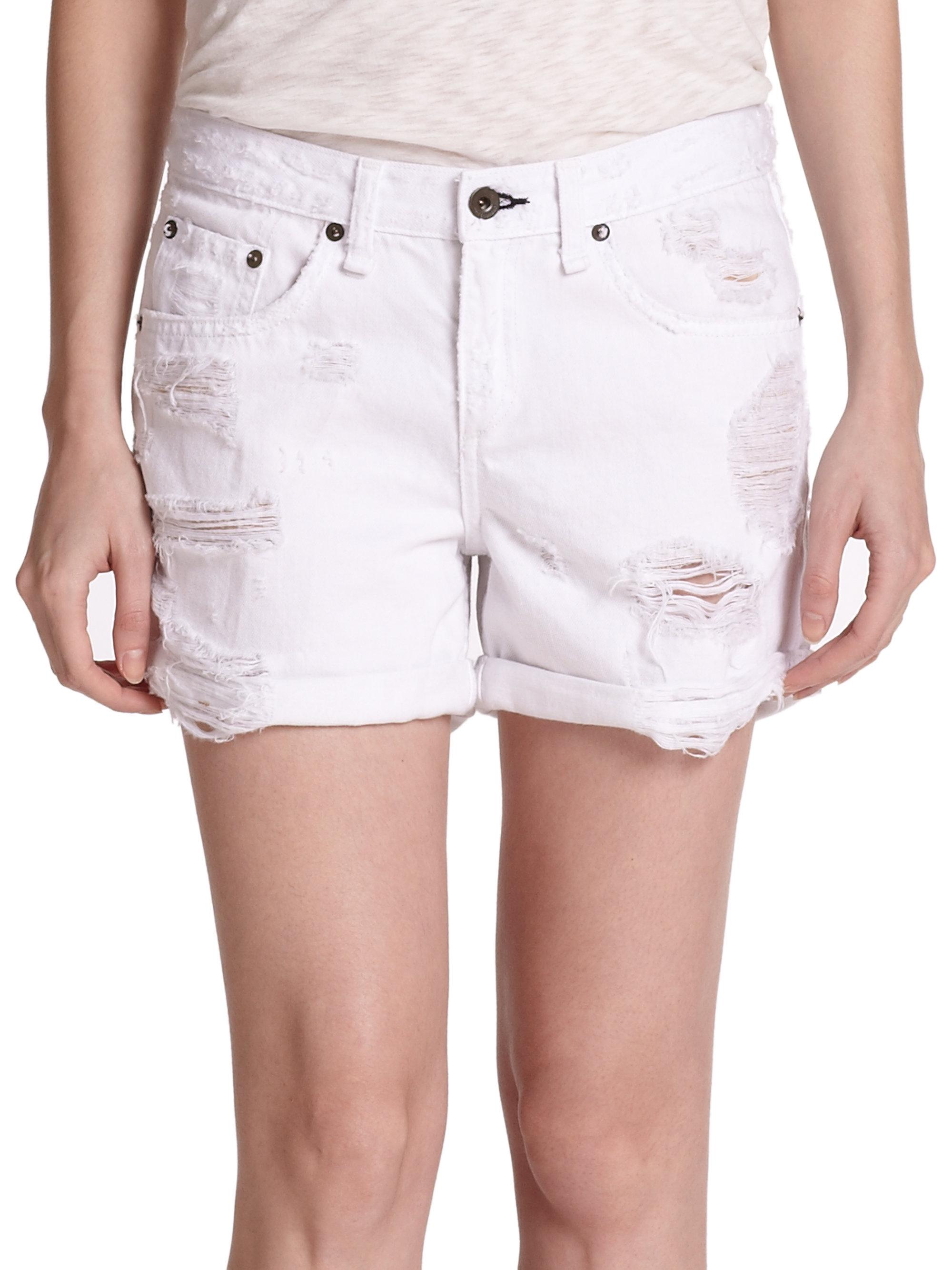 Rag & bone Distressed Boyfriend Shorts in White | Lyst