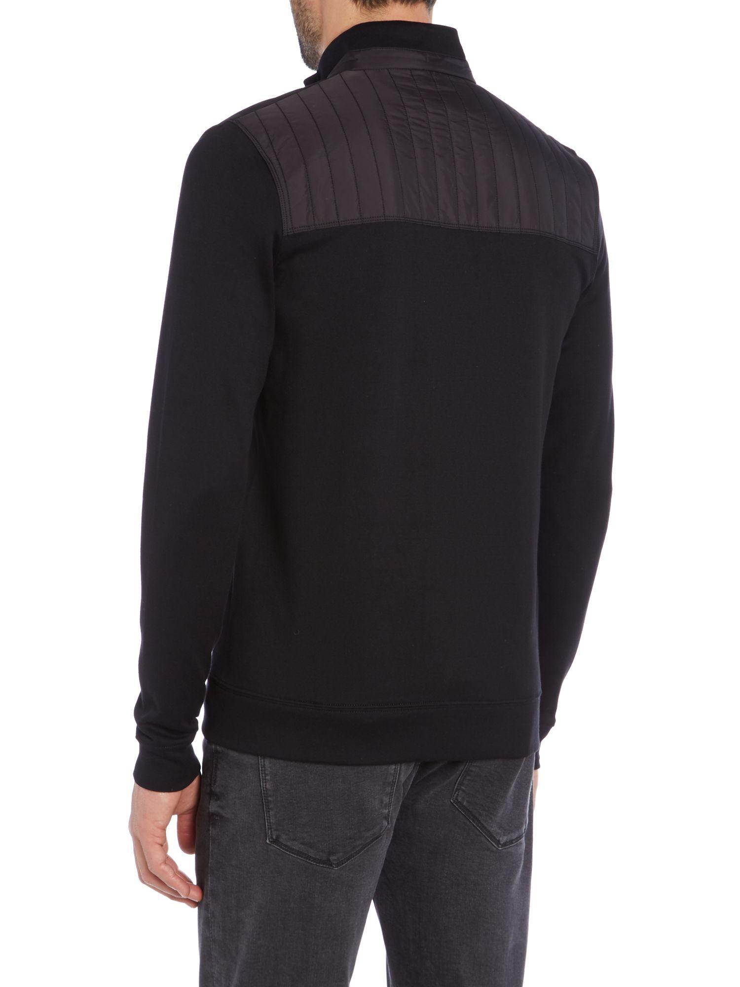 hugo boss black zip up cardigan sweater. Black Bedroom Furniture Sets. Home Design Ideas