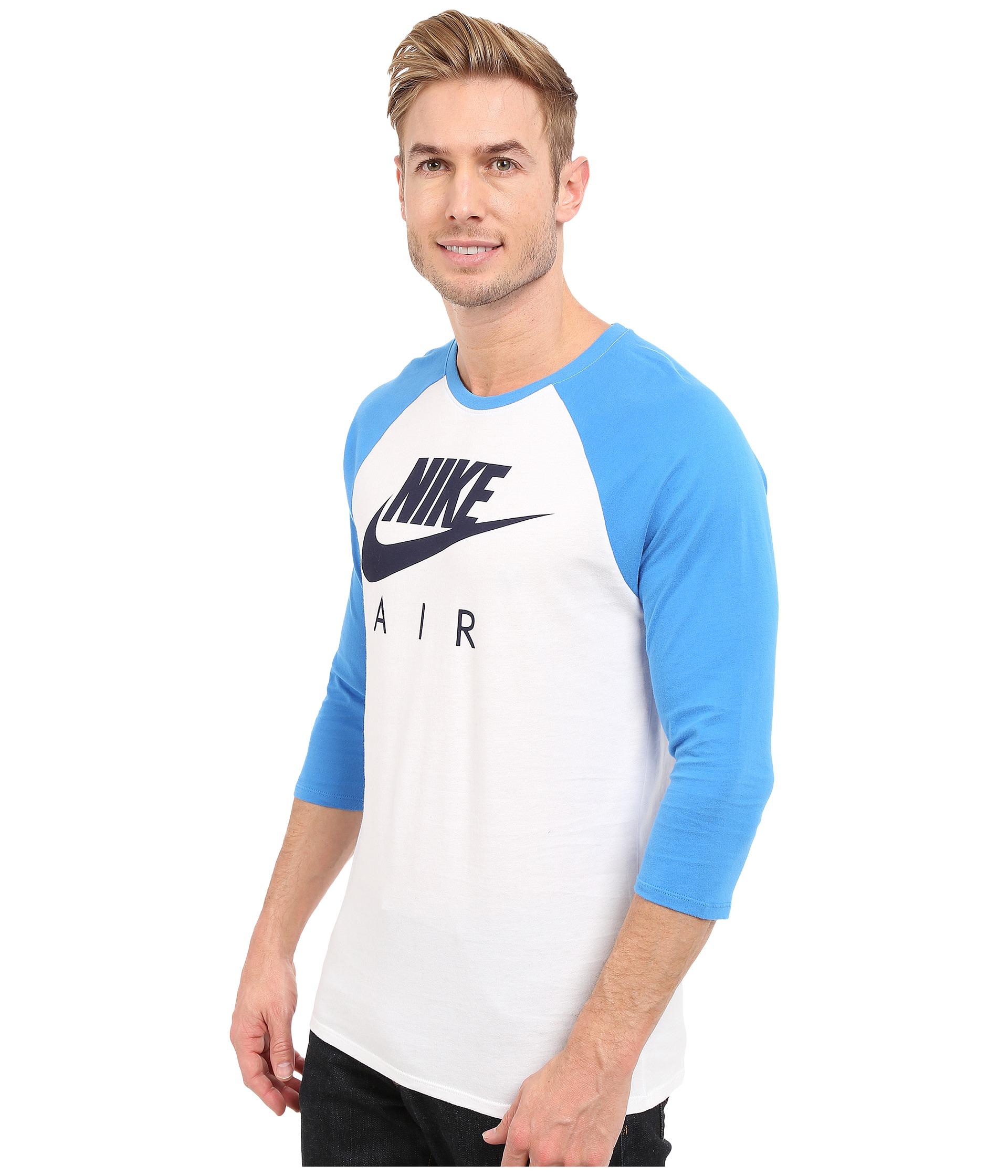 93b8227b Nike Air 3/4 Raglan Tee in Blue for Men - Lyst
