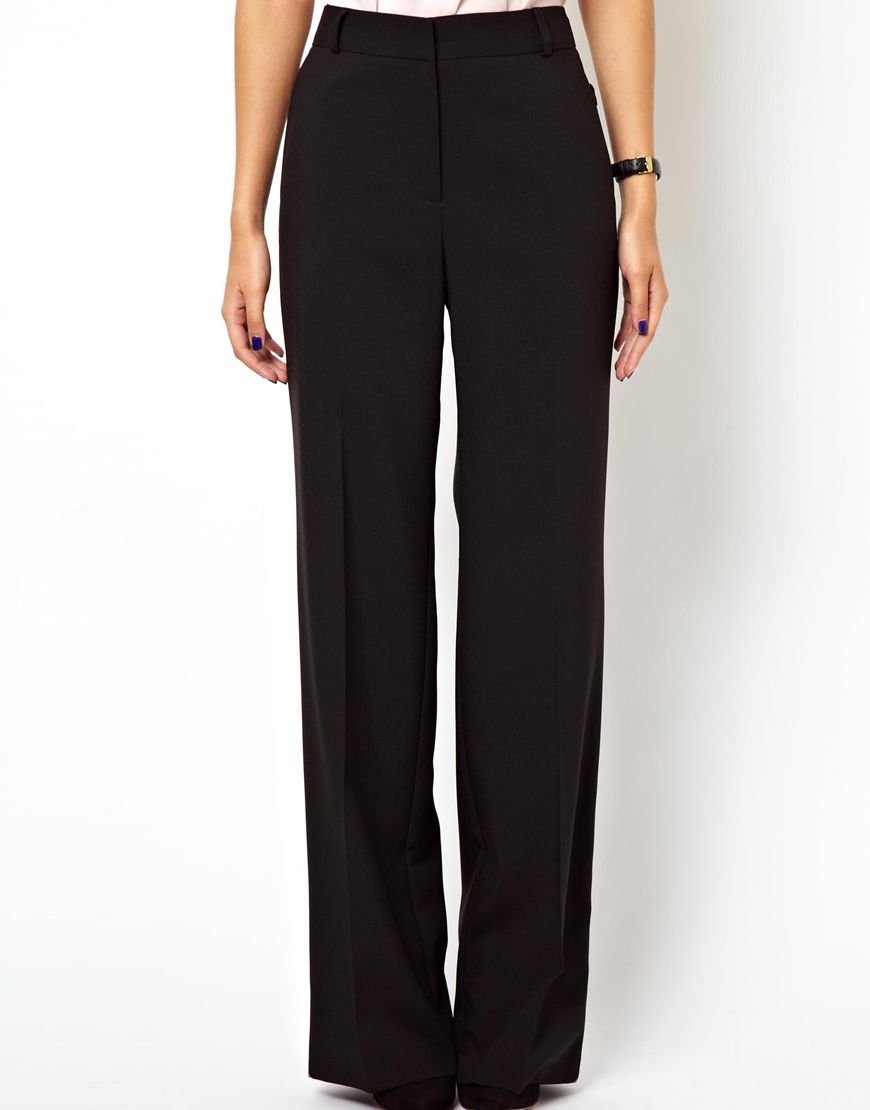 Asos Longer Length Trousers In Wide Leg With Side Buckles in Black ...