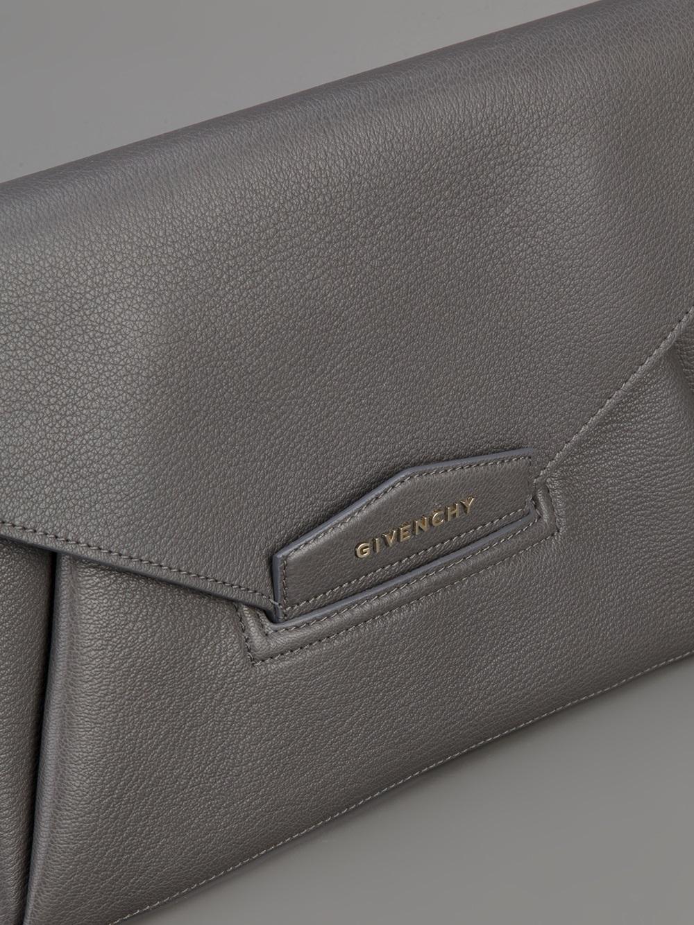 Lyst Givenchy Antigona Envelope Clutch In Gray