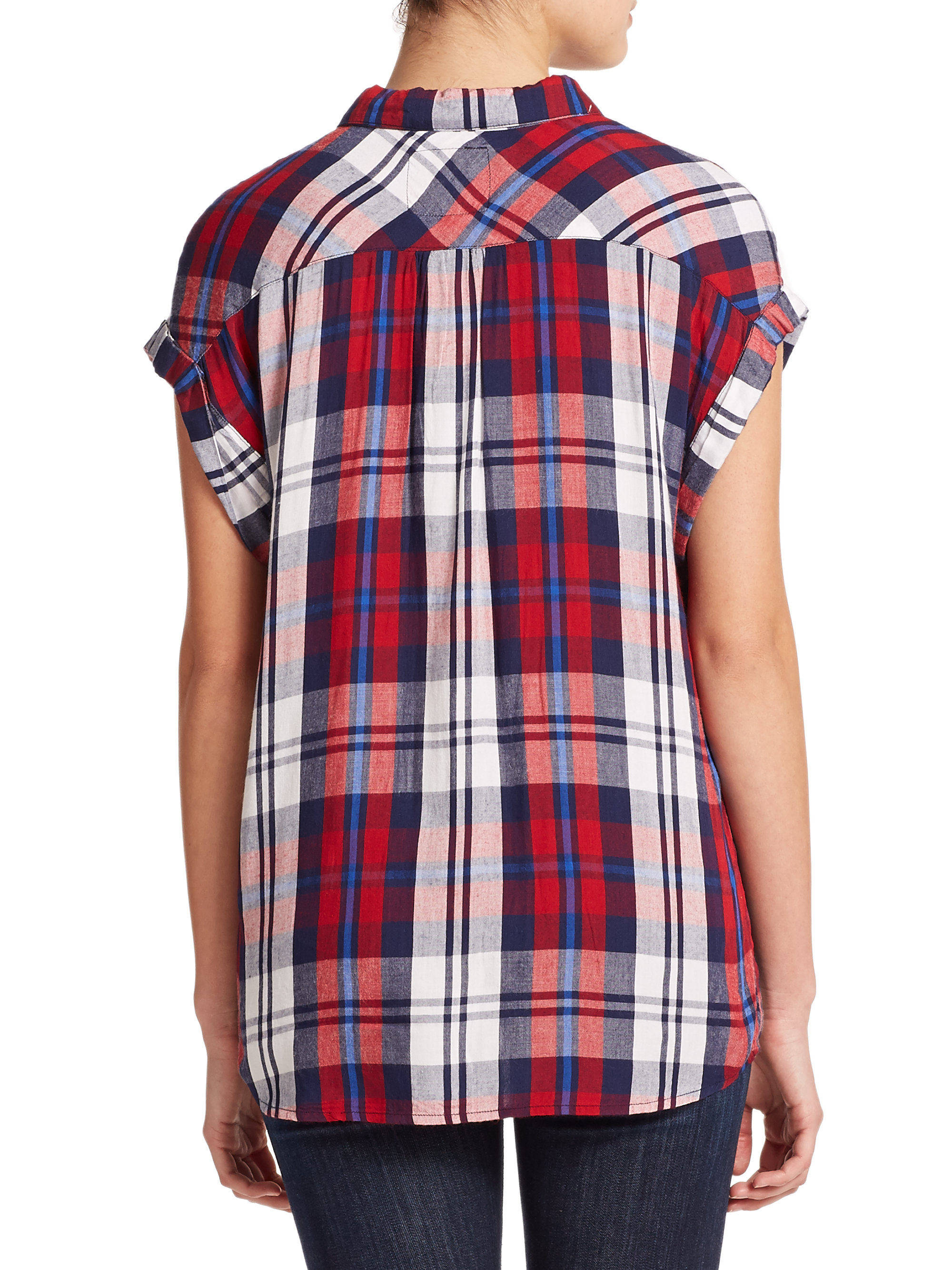 Rails britt short sleeve plaid shirt in red cherry navy Short sleeve plaid shirts