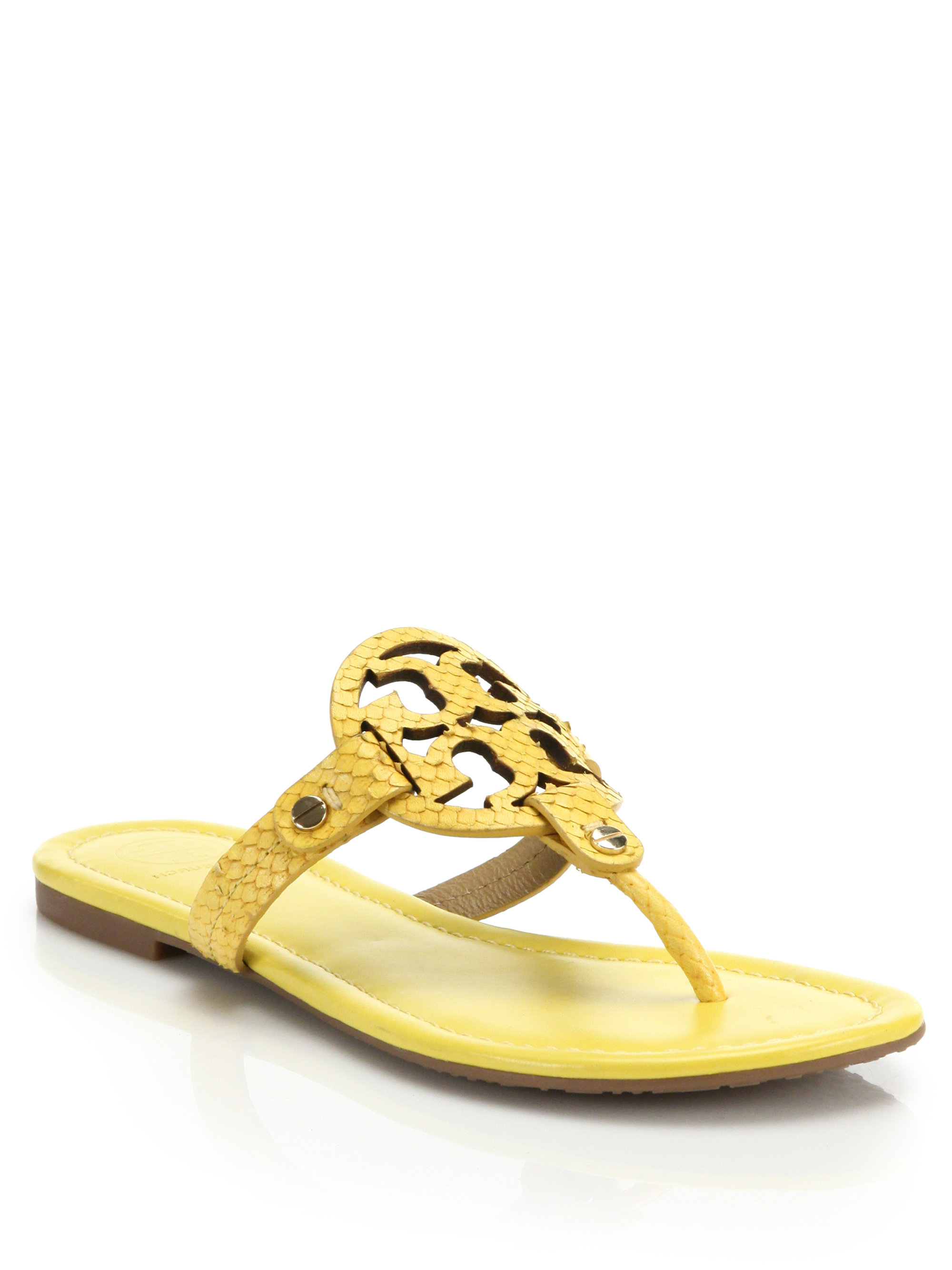 ca2635893 Lyst - Tory Burch Miller Snake-embossed Leather Thong Sandals in Yellow