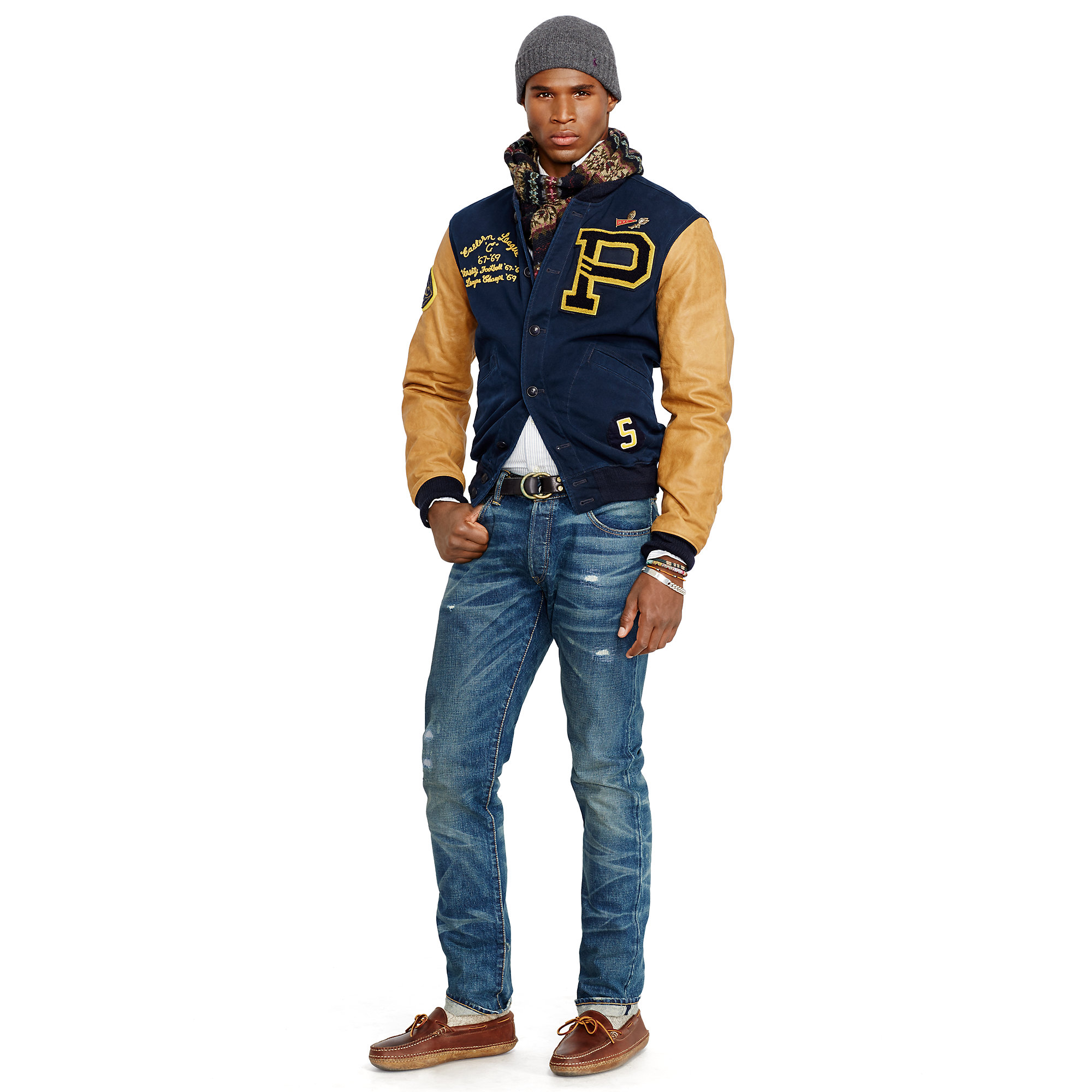 775e8a41ee8b Lyst - Polo Ralph Lauren Davidson Varsity Jacket in Blue for Men