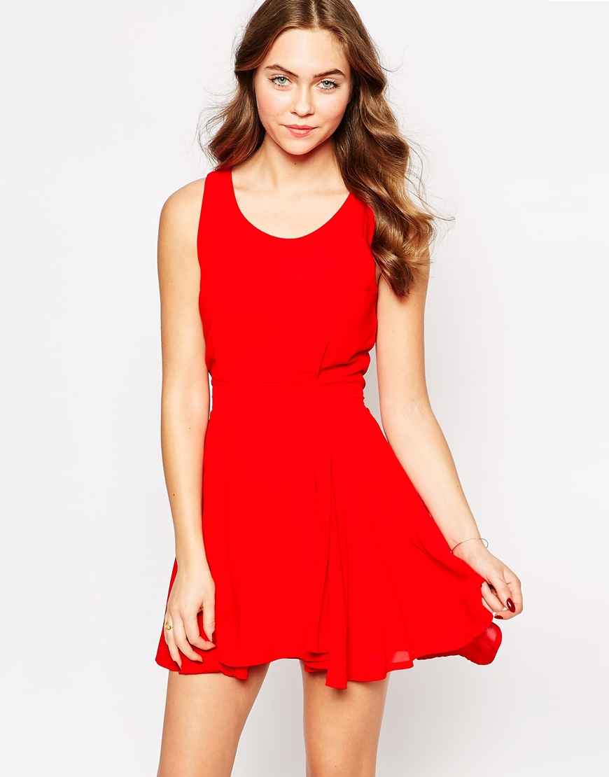 Lyst - Wal-G Sleeveless Skater Dress in Red 04b3e61f86