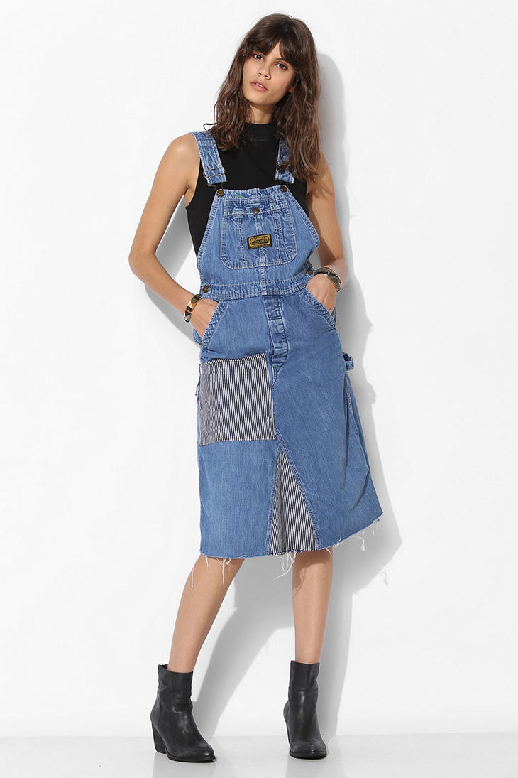 Lyst urban outfitters urban renewal patched overall dress in blue - Avis urban dressing ...
